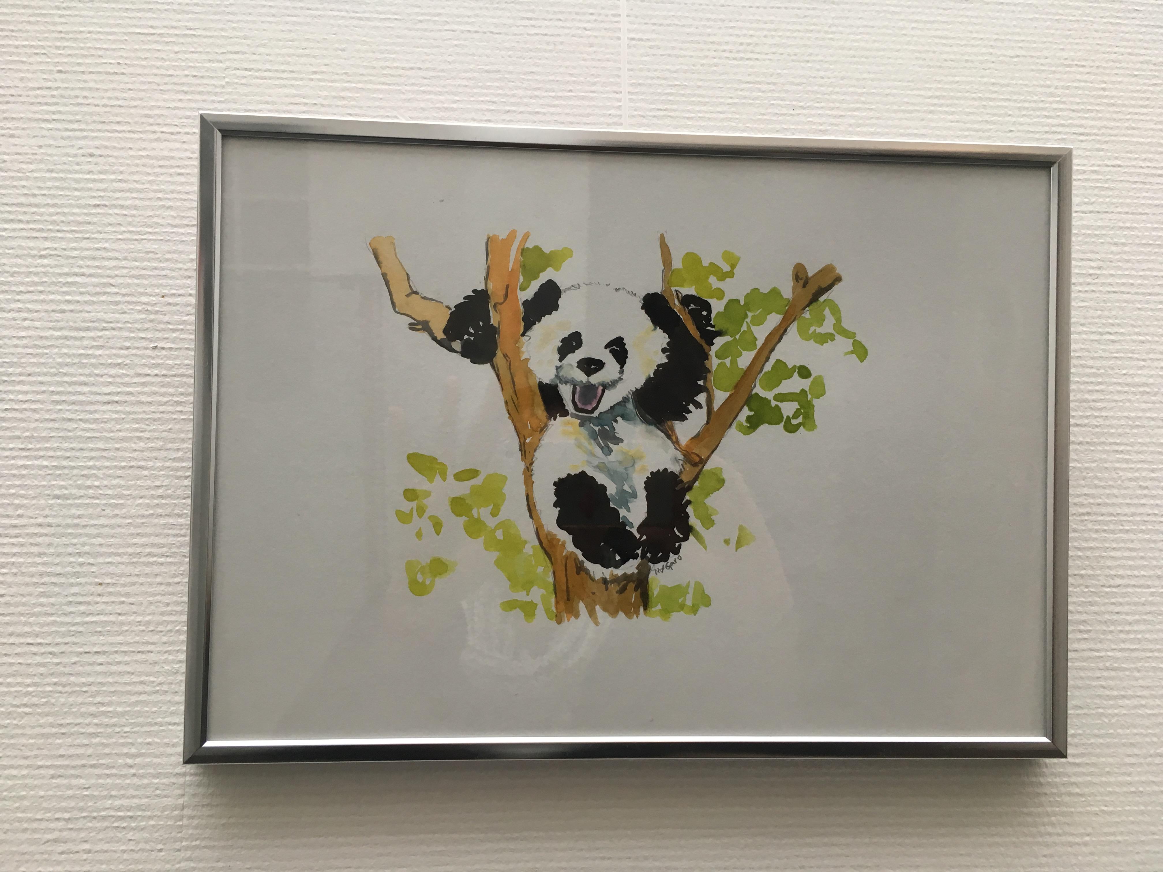 panda rieur, encre  aquarelle originale de M-A.Garo 2019