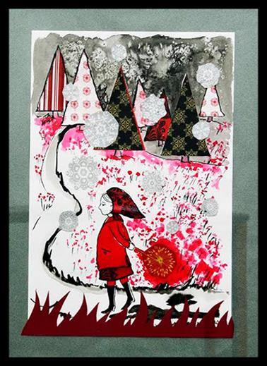 Oeuvre originale, encres et collages : Le Petit Chaperon Rouge, MA Garo - Format 42x29,7 cm, VENDU.