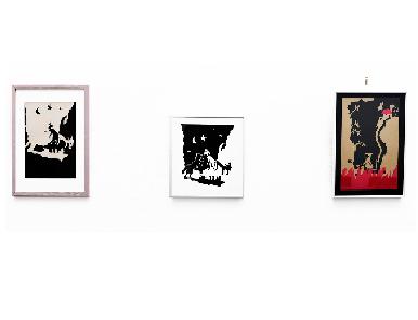 Exposition sur les contes, oeuvres origonales en papier découpé, encres et collages, encres de chine et croquis. MA Gao