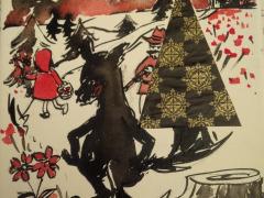 Oeuvre originale, encres et collages : Le Petit Chaperon Rouge, MA Garo - Toile carrée, VENDUE.