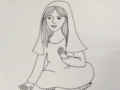 illustration biblique pour Noël : Marie. DR M-A;Garo