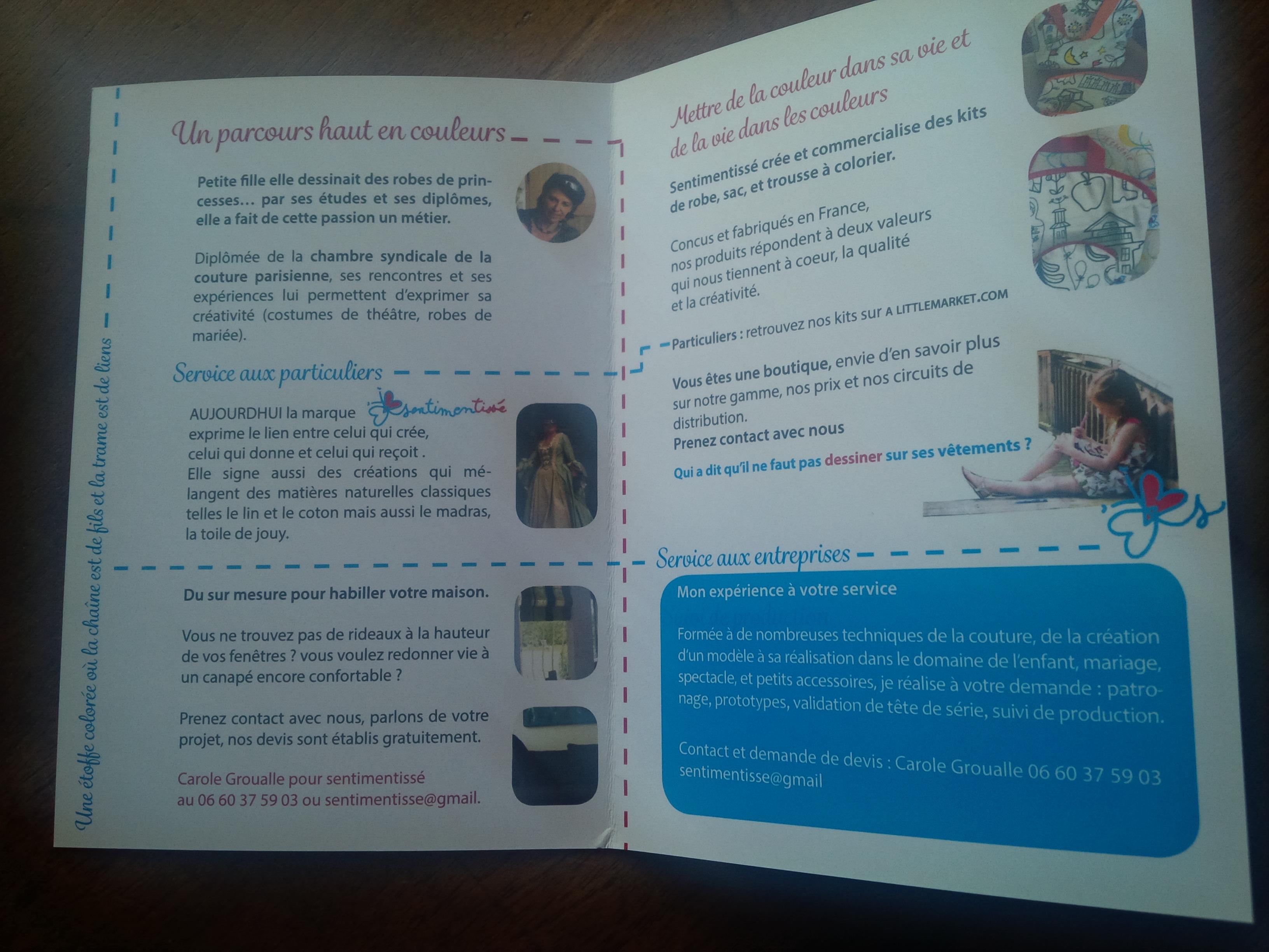 brochure 4 pages sentimentissé, 2015